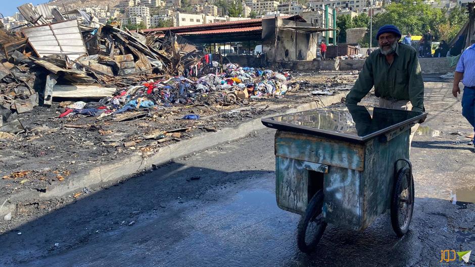 حريق سوق البالة في نابلس